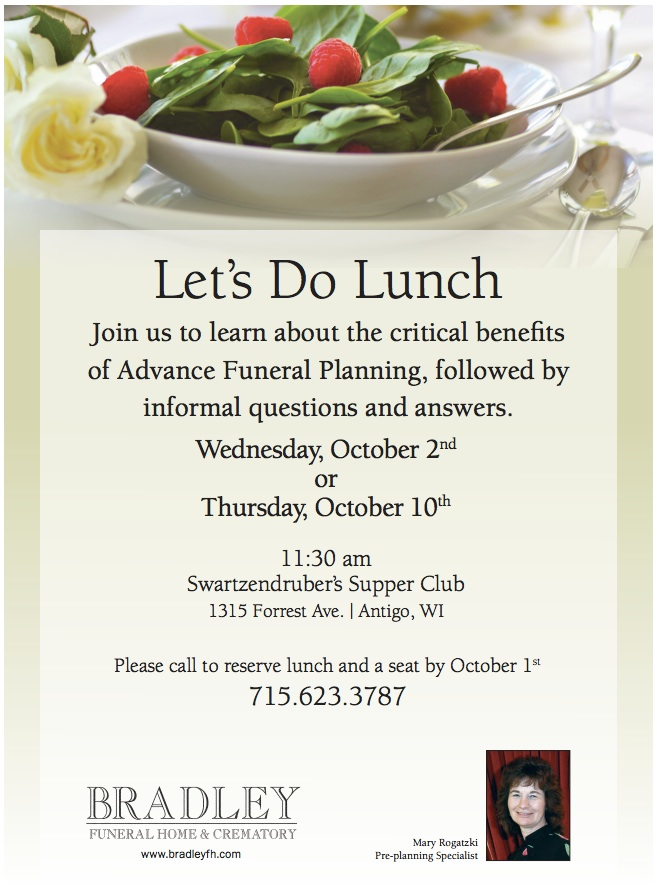 Lunch and Learn - Antigo, Wisconsin Funeral Home | Bradley